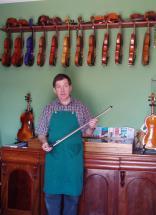 Padraig with his beautiful Violins