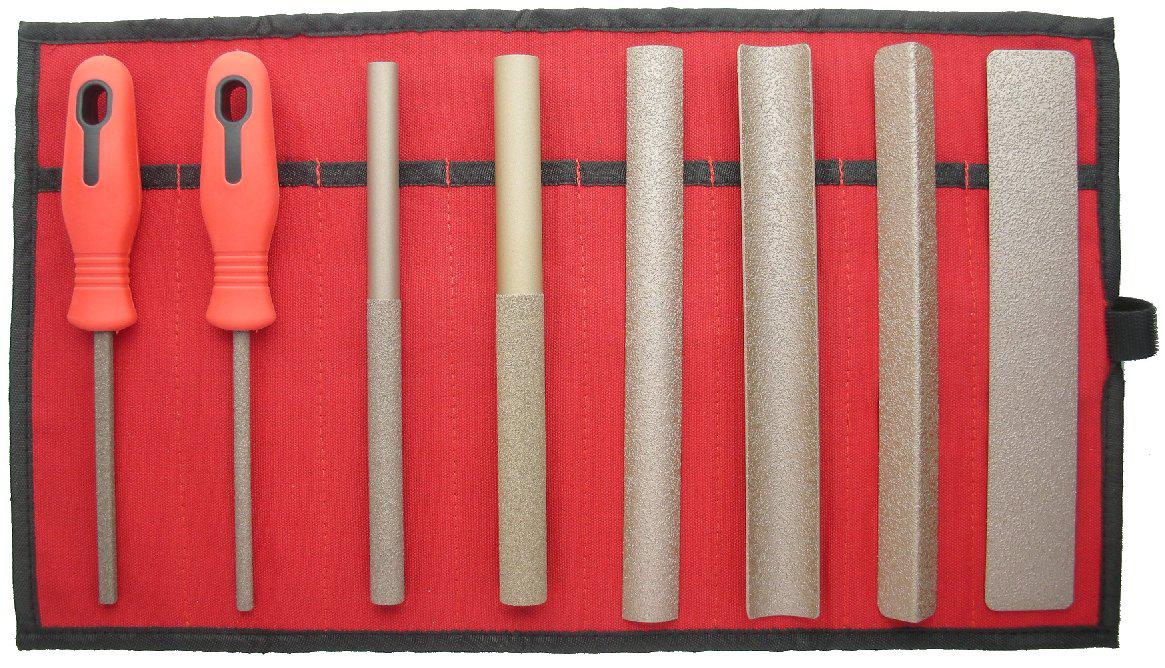 Set of 8 Hand Tools COARSE, in Red Canvas Roll