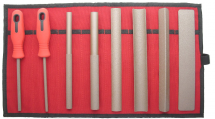 Set of 8 Hand Tools FINE, in Red Canvas Roll